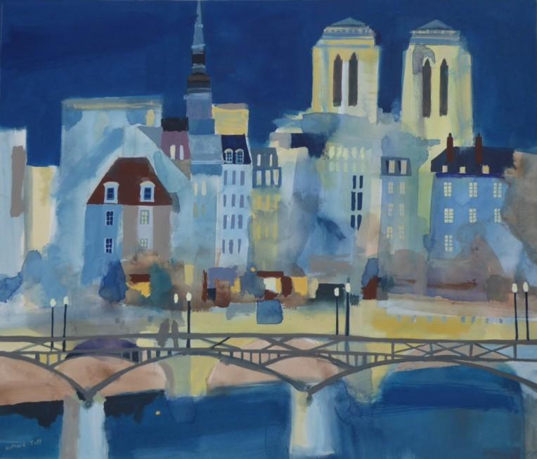Pont des Arts to Notre Dame. 54.5 x 63 cm, gouache on paper (2)